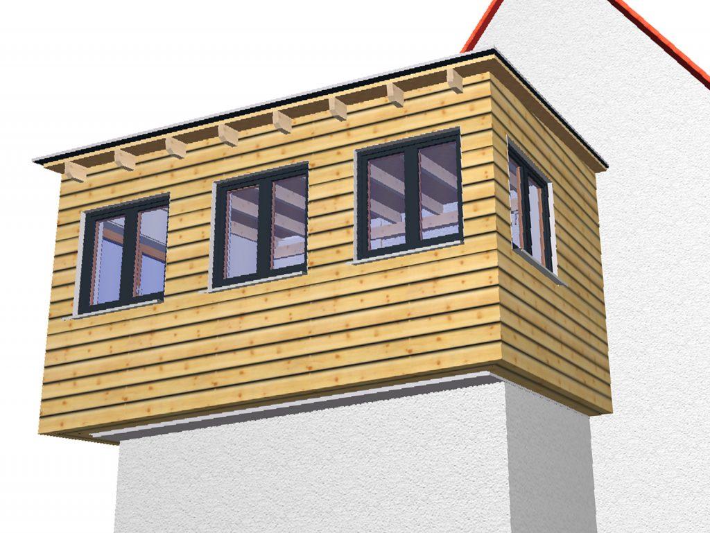 Rendering des Entwurfs zum Überhang aus Holz